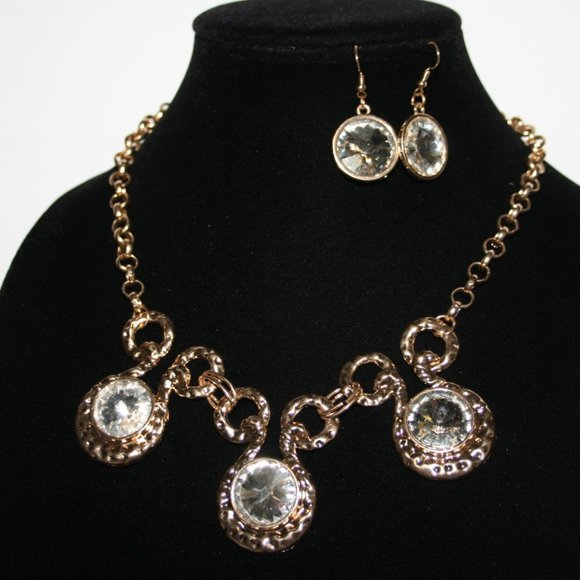Gold and rhinestone necklace and earrings set